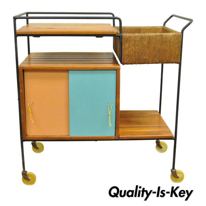 Vintage Arthur Umanoff Mid-Century Modern Tiki Bar Cart in Wrought Iron and Rush