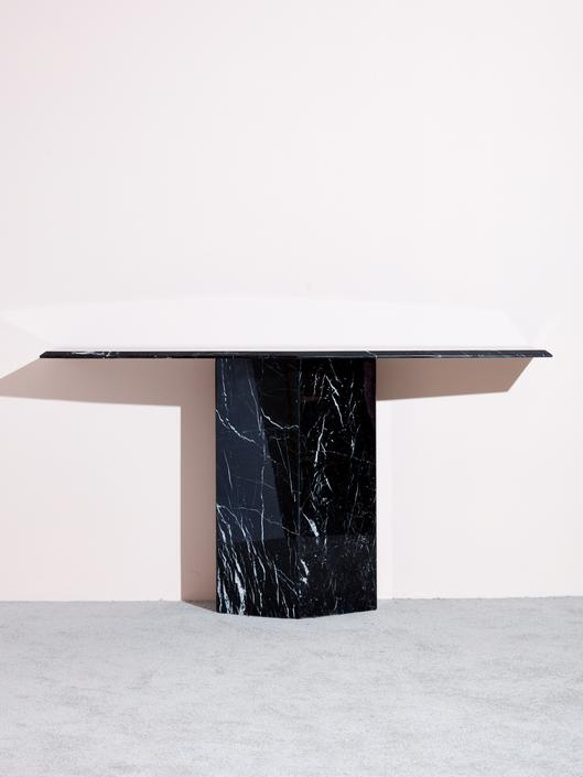 1980s Black Marble Console