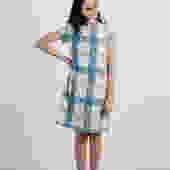 Tayler Dress - Blue Tan Plaid