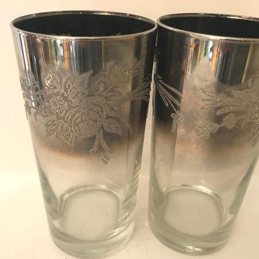 Pair of (2) Vintage Queen's Lustreware Silver Fade Ombré Rose Embossed Highball Glasses By Toscany by JoAnntiques