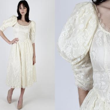 Vintage 80s Ivory Gunne Sax Dress 1980s McClintock Puff Sleeve Deco Dress Victorian Inspired Lawn Bridal Lace Tea Time Maxi Dress by americanarchive