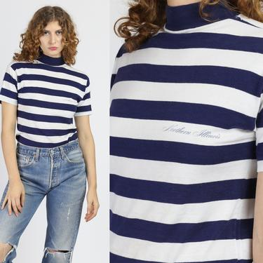 80s Nautical Striped Mockneck T Shirt - Extra Small | Vintage Norther Illinois Navy Blue White Tourist Tee by FlyingAppleVintage