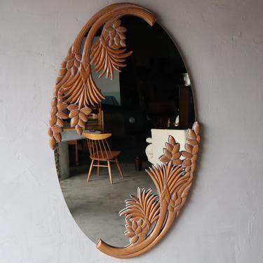 Large Vintage Carved Wood Botanical Wall Mirror by AgedModern