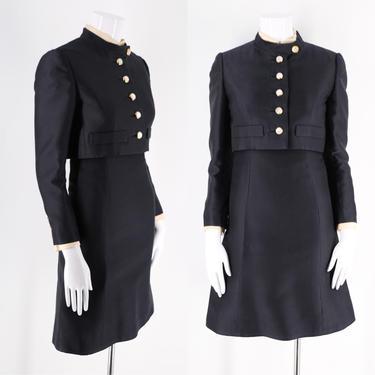 60s Adele Simpson black wool dress suit w/ jacket / vintage 1960s military button cropped jacket sheath dress sz S / 4 by ritualvintage