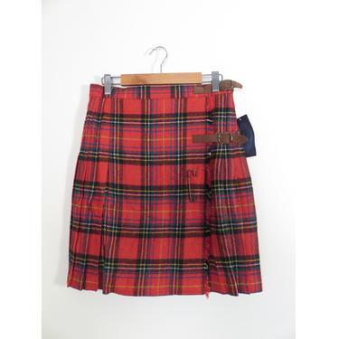 Vintage 90s Deadstock Plaid Wool Double Buckle Pleated School Girl Mini Skirt Wrap Skirt Size M by VelvetCastleVintage