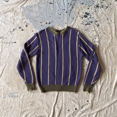 Vintage 80s Bud Berma Striped Acrylic Pullover Crewneck Sweater by NorthGroveAntiques