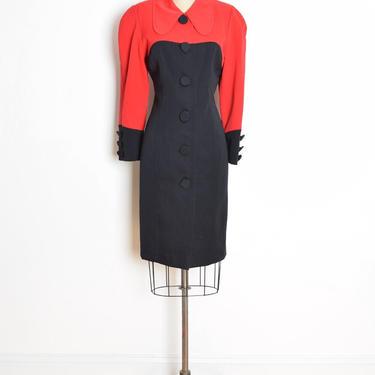vintage 80s secretary dress red black wool color block geometric mod peter pan M clothing by huncamuncavintage