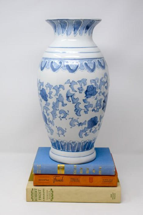 Large Blue and White Chinoiserie Vase by CapitolVintageCharm