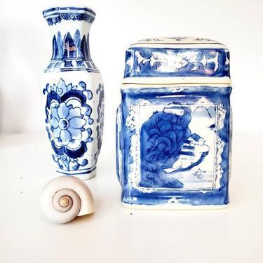 Vintage Chinoiserie Tea Caddy / Kitchen Storage Jar by pennyportland