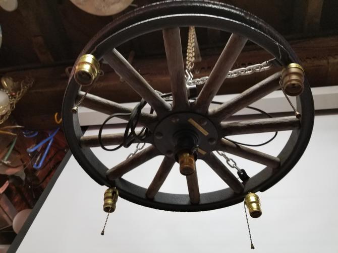 "Vintage Wood Wheel 5 Bulb Hanging Light (23.25"" diameter)"