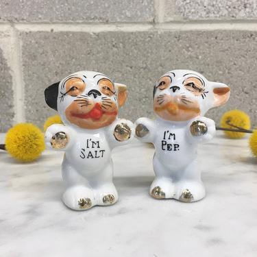 Vintage Salt and Pepper Shakers 1950s Mid Century Modern + Japanese + Handpainted + Ceramic + Dogs + I'm Salt + I'm Pep + Kitchen Decor by RetrospectVintage215