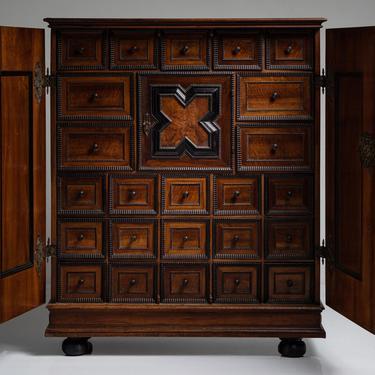 Walnut Cabinet with Ebonised Moulding