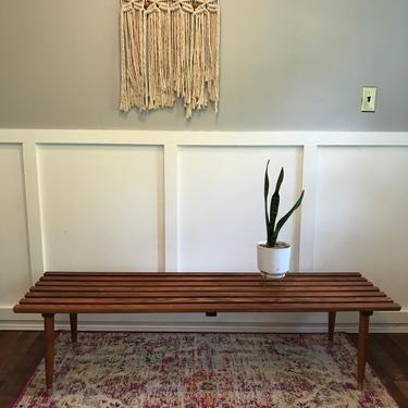 Slat Coffee Table Modern restored Vintage Mid Century George Nelson Style Eames Era Table, Solid Oak Wood , Minimalist Retro, Tapered Legs by VintageCoreReStore
