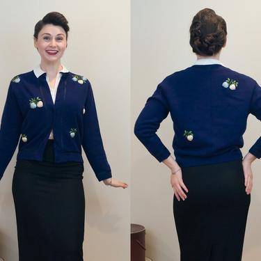 SALE PRICE 1960s Vintage Cardigan - Soft and Sweet Navy Blue Sweater with Novelty 3D Strawberries by DomesticatedPinup