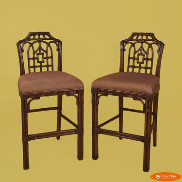 Pair of Chippendale Pagoda Bar Stools