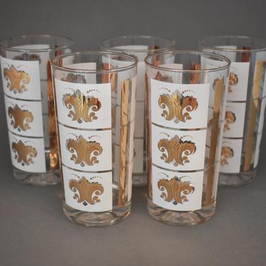 Swanky Vintage Drinking Glasses | Glass Highball Set of 5 | White + Gold Acanthus Fleur de Lis Pattern | 18k Gold | MCM Barware Tom Collins by LostandFoundHandwrks