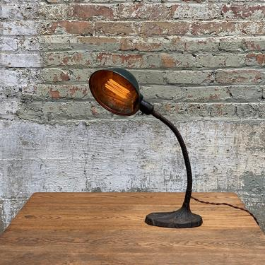 Industrial Art Deco Farber Cast Iron Gooseneck Desk Lamp by NorthGroveAntiques