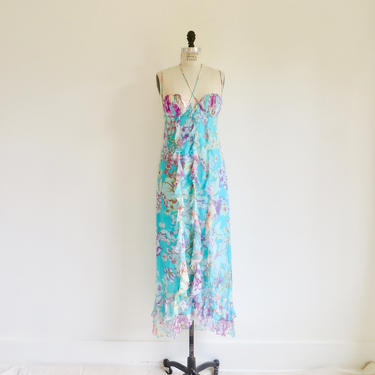 Vintage 1990's Max Mara Aqua Pink  Silk Long Maxi Ruffle Dress Spaghetti Straps Built in Bra 90's Italian Made in Italy Size 8 US 38 IT by seekcollect