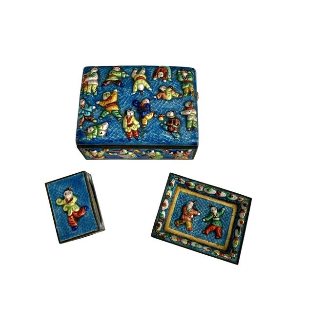 Chinese Enameled Smoking Set- 3 Pieces by FunkyRelic