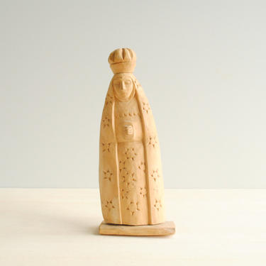 Vintage Hand Carved Wood Statue of a Praying Woman, Wooden Statuary, Medieval Praying Nun by LittleDogVintage
