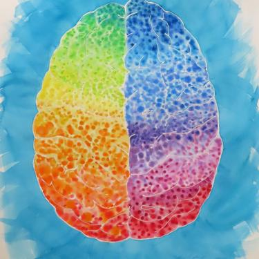 Rainbow Dots Brain -  original watercolor painting - neuroscience art - pride- LGBTQ by artologica