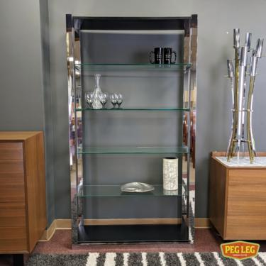 Vintage chrome and black etagere with glass shelves