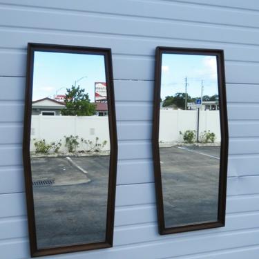 Mid Century Modern Pair Wall Dresser Bathroom Vanity Mirrors 2223