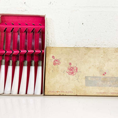 True Vintage Set of Six Sheffield Steak Knives Knife Mid-Century Stainless Steel Pearl Bakelite England B. Thomas & Co Cutlers NOS Deadstock by CheckEngineVintage