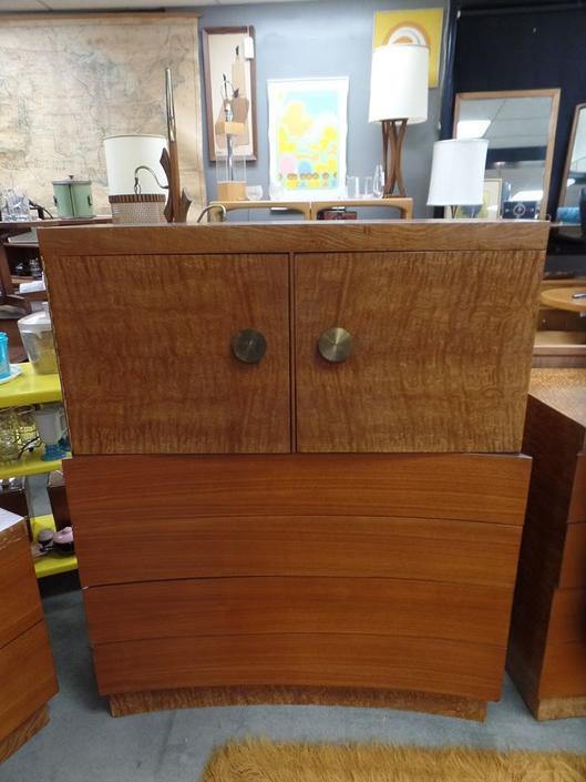 Mid-Century Modern highboy burlwood dresser large brass pulls