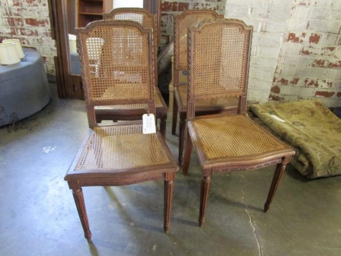 SET OF FOUR FRENCH CANED CHAIRS