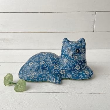 Vintage Floral Cat Statue   Cat White And Blue Floral Figurine   Vintage Porcelain Cat, Rustic, Cottagecore, Cat Collector, Perfect Gift by CuriouslyCuratedShop