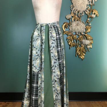 1970s maxi skirt, vintage 70s skirt, patchwork, prairie style, medium, cottagecore, gunne sax style, bohemian skirt, chessa davis, cotton by BlackLabelVintageWA