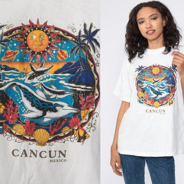 Dolphin Shirt Under The Sea Shirt Metallic Graphic Tshirt Cancun Mexico Shirt Retro T Shirt 90s Vintage Mexico Surfer Tee Medium Large by ShopExile