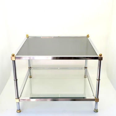 1970's Maison Jansen Mid Century Modern Chrome & Brass Square Side End Coffee Table Low Profile Smoked Glass Hollywood Regency! French by MakingMidCenturyMod