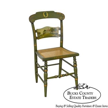 Hitchcock Green Painted George Washington Mount Vernon Cane Seat Side Chair by BucksEstateTraders