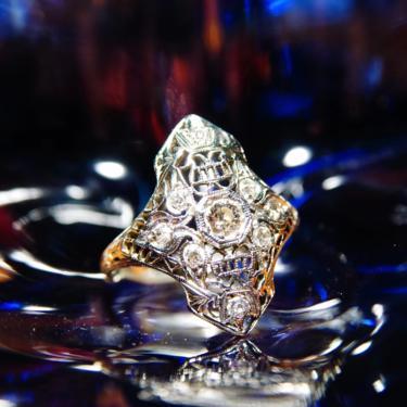 Vintage Art Deco 18K White Gold Filigree Diamond Ring, 9 OEC Diamonds, Dazzling .25 CT Center Stone, 750 White Gold Ring, Size 7 1/2 US by shopGoodsVintage