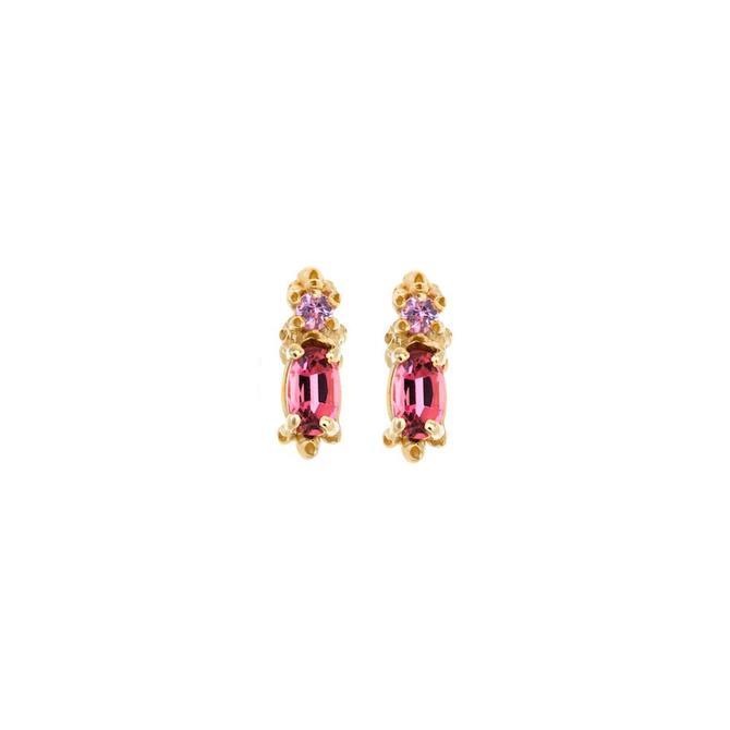 Pink Tourmaline & Sapphire Studs