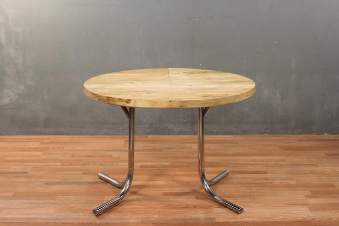 Mod Ash Laminate & Chrome Kitchen Table With Leaf – ONLINE ONLY