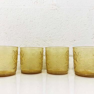 True Vintage Sunshine Yellow Mini Juice Glasses Set of Four Anchor Hocking Glassware Tiny Small Glass Butter 50s 1950s Barware Retro Bar by CheckEngineVintage