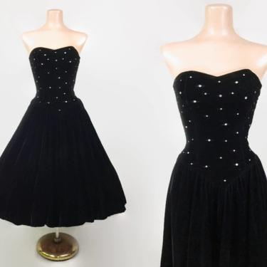 VINTAGE 80s does 50s Black Velvet Sweetheart Bustier Party Dress with Rhinestones | 1980s Strapless Prom Full Cocktail Gown with Pockets by IntrigueU4Ever