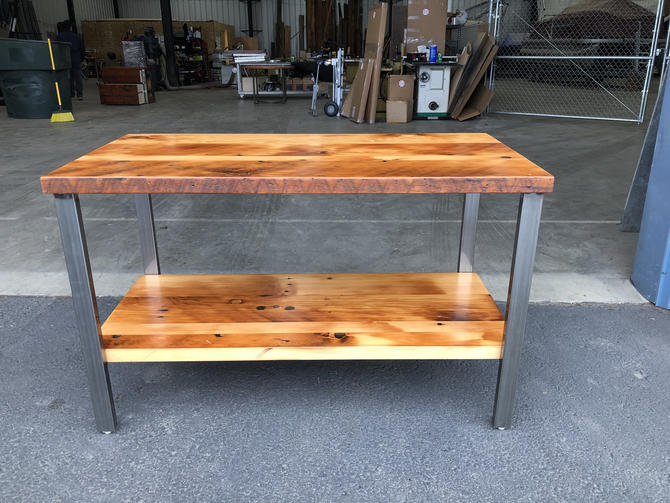 Reclaimed Wood Table With Shelf. Old Table. Rustic Table. Wood And Steel Table. Reclaimed Wood Vanity. Free Shipping. by UrbanIndustrialNW