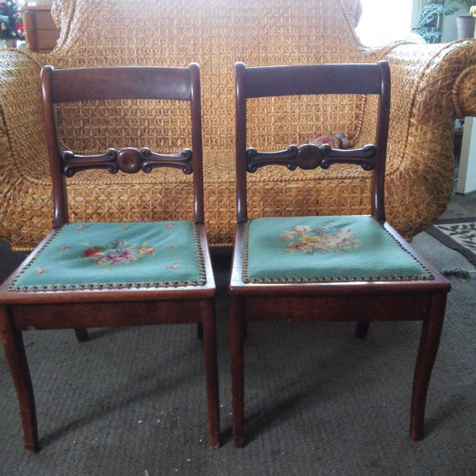 ANTIQUE Needlepoint Side Chairs//  Needlepoint Nailhead Trim Solid Wood Chairs// Victorian Style Antique Side Chairs by 3GirlsAntiques