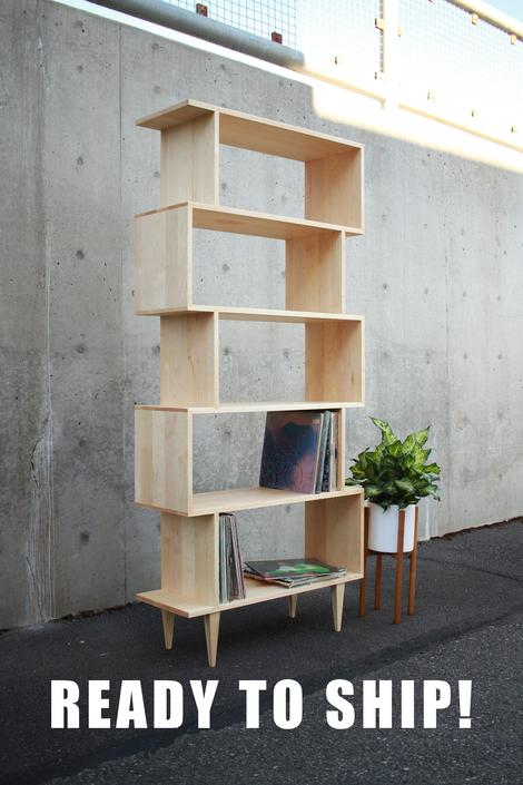 READY TO SHIP! Omni Offstack Bookcase, Mid-Century Modern Bookshelf, Geometric Vinyl Storage (Maple) by TomfooleryWood