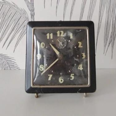 Vintage Clock, Alarm, Westclox, non-working condition, Glow in the Dark numerals, Decorative Purpose only, circa 50's by DecoDiscoDecor
