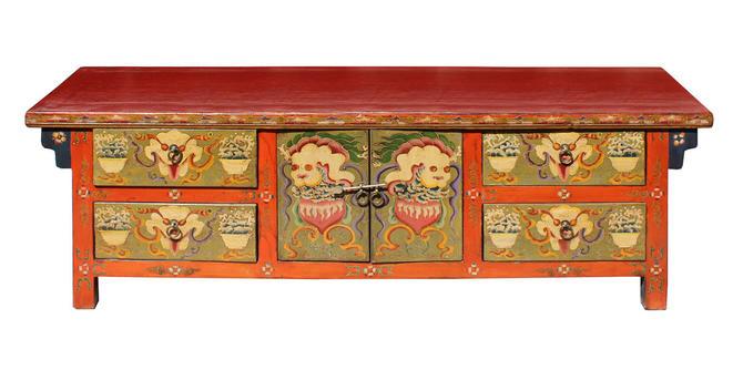 Chinese Orange Tibetan Skull Foo Dogs Console Table Cabinet cs2976E by GoldenLotusAntiques