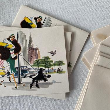Vintage Notecards, Woman Shopping With Black Poodle, City Scene, Stuart Hall Cards,Signed By Artist, Small Blank Cards, Stationary, Set Of 6 by luckduck