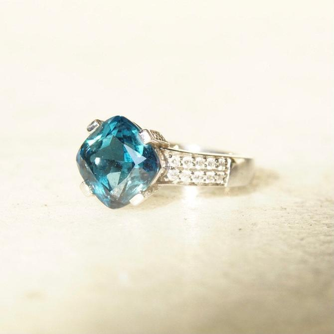 Vintage 14K White Gold Blue Topaz Solitaire Ring, Cushion Cut Gemstone, Accent Diamonds, Cathedral Setting, Gold Cocktail Ring, Size 7.5 US by shopGoodsVintage