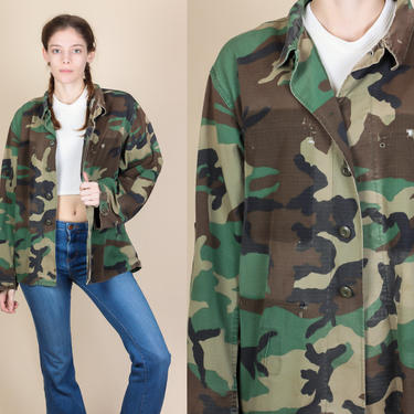 Vintage Camo Army Jacket - Mens Medium Short   80s Button Up Shirt Military Camouflage by FlyingAppleVintage