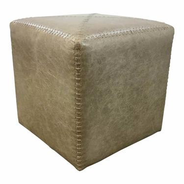 Jamie Young Modern Small Taupe Leather Ottoman