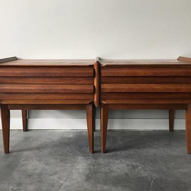 pair of vintage mid century modern Lane First Edition nightstands.